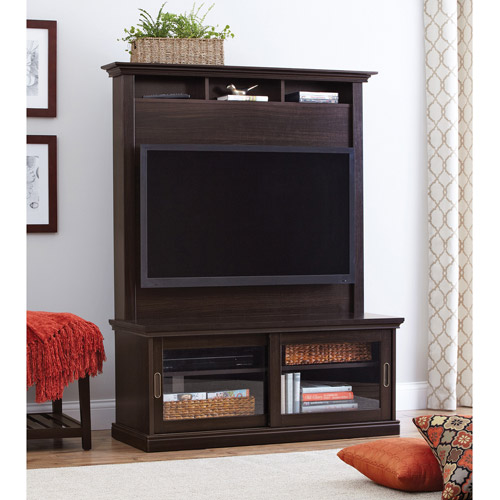 Better Homes and Gardens Chocolate Oak TV Stand with Hutch for TVs