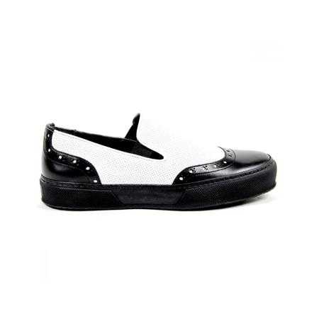 Robert Clergerie Paris Womens Slip On Sneaker TILO02 V LISSE NOIR V L PERFO BLANCO Multicolor 40 EUR - 10 US ()
