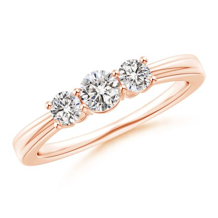 April Birthstone Ring - Step-Edged Three Stone Diamond Tapered Ring in 14K Rose Gold (4mm Diamond) - - 3 Stone Tapered Ring