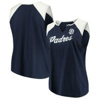 Women's Majestic Navy/White San Diego Padres Plus Size Shutout Supreme Sleeveless Muscle Tank Top