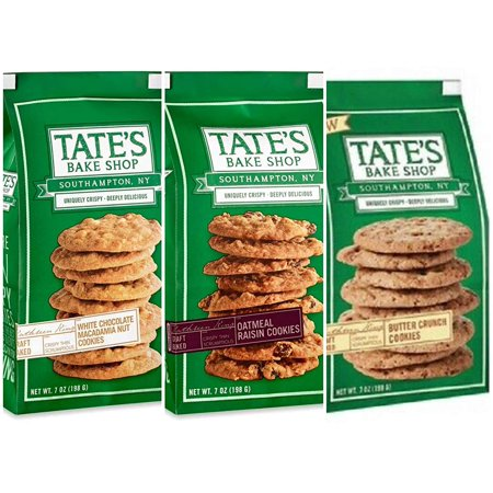 Tate's Bake Shop White Chocolate Macadamia Nut - 7 Oz, Oatmeal Raisin - 7 Oz, & Butter Crunch Cookies - 7 Oz