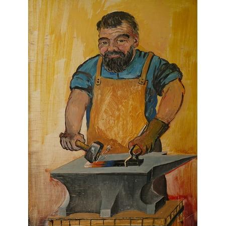 Canvas Print Man Metal Blacksmith Profession Forge Iron Craft Stretched Canvas 10 x 14](Man Craft)