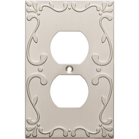 Franklin Brass Classic Lace Single Duplex Wall Plate in Satin Nickel