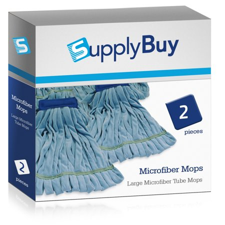 - SupplyBuy Large Microfiber Tube Mops | Industrial Wet Mops with Canvas Headbands | Pack of 2