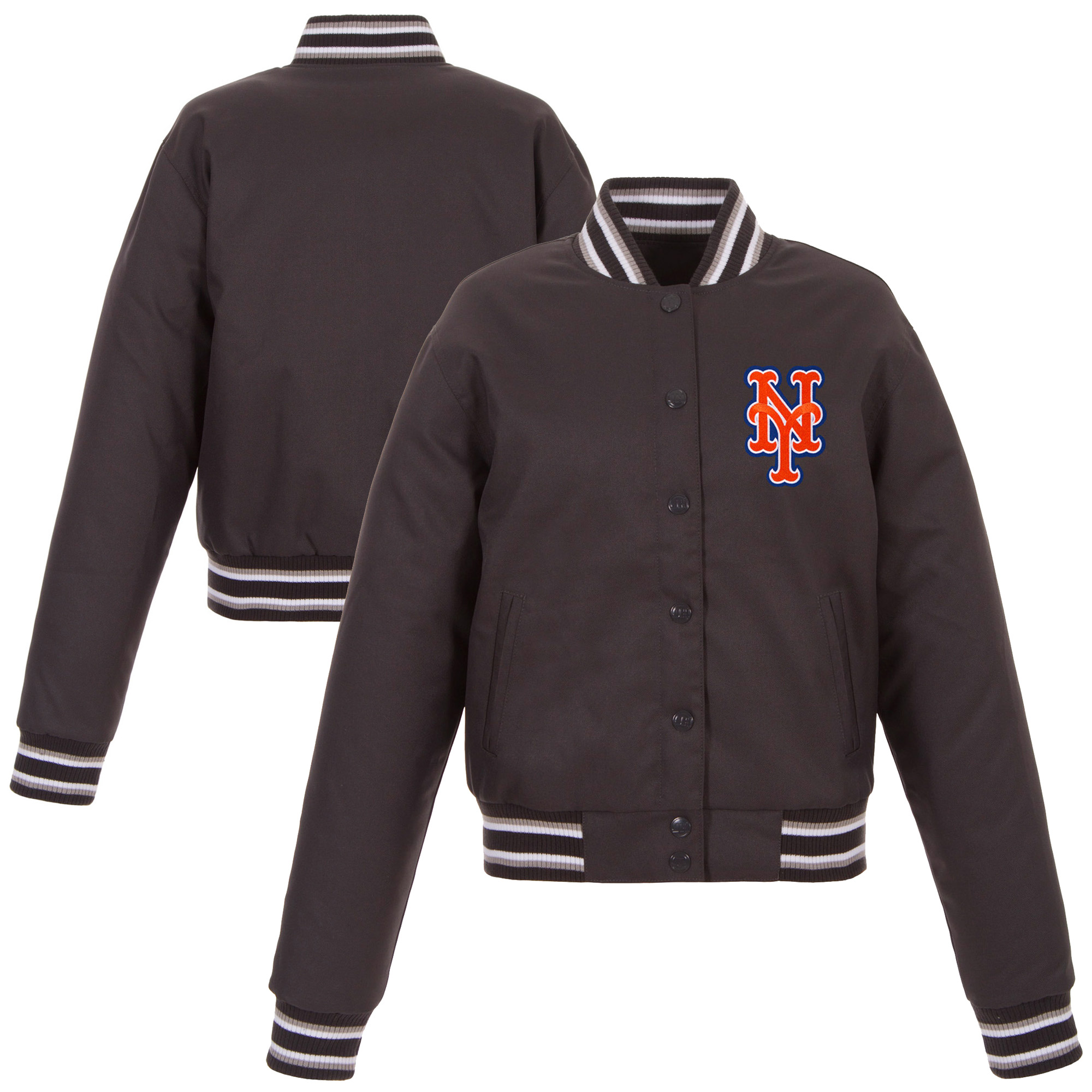 New York Mets JH Design Women's Embroidered Logo Poly-Twill Full Snap Jacket - Charcoal