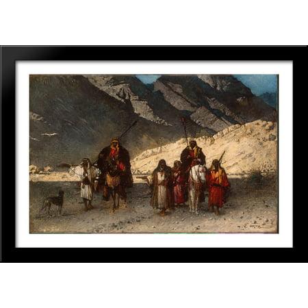 Arabian Sheikhs in the Mountains 40x28 Large Black Wood Framed Print Art by Leon Bonnat (Sheik Arabia)