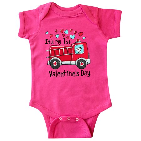 It's My 1st Valentine's Day Fire Truck with Cute Dalmatian Infant Creeper