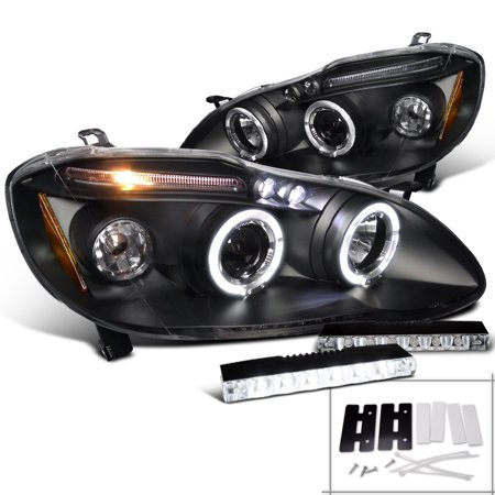 Spec-D Tuning 2003-2008 Toyota Corolla Led Halo Projector Headlights Black + 6-Led Fog Lamps (Left + Right) 03 04 05 06 07 08