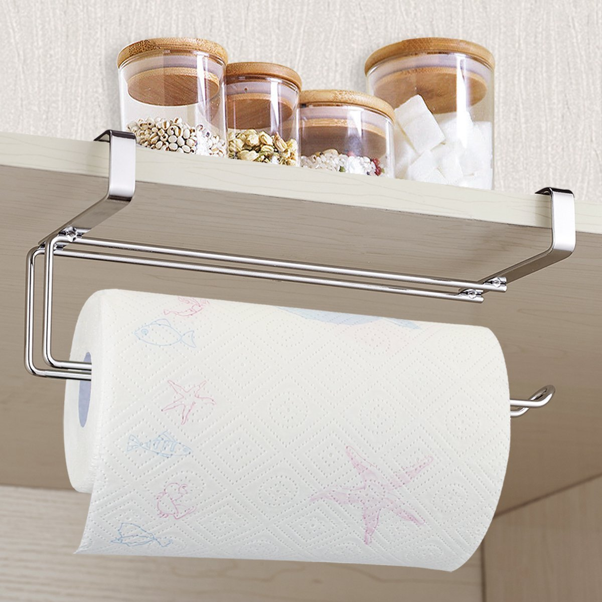 304 Stainless Steel Kitchen Tissue Holder Hanging Bathroom Toilet Roll  Paper Holder Towel Rack Kitchen Cabinet Door Hook Holder