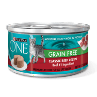 (4 Pack) Purina ONE Grain-Free Classic Pate Beef Recipe Wet Cat Food - 3 oz. Pull-Top Can
