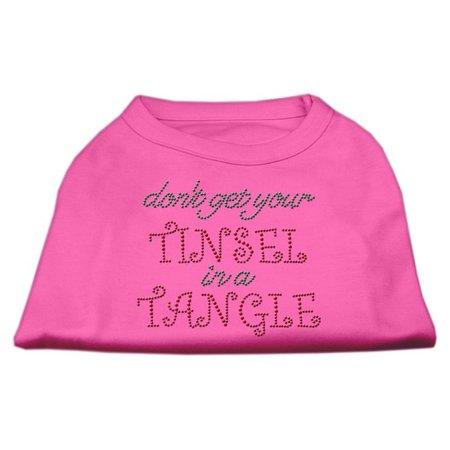 Mirage 52-94 XSBPK Tinsel in A Tangle Rhinestone Dog Shirt Bright Pink XS