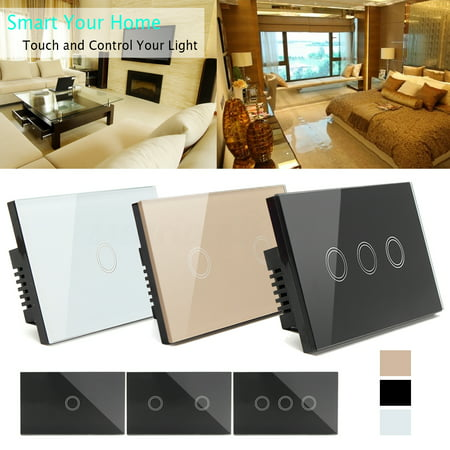 Smart Touch Wall Light Switch smart switch Controller 3 Gang 1 Way wit