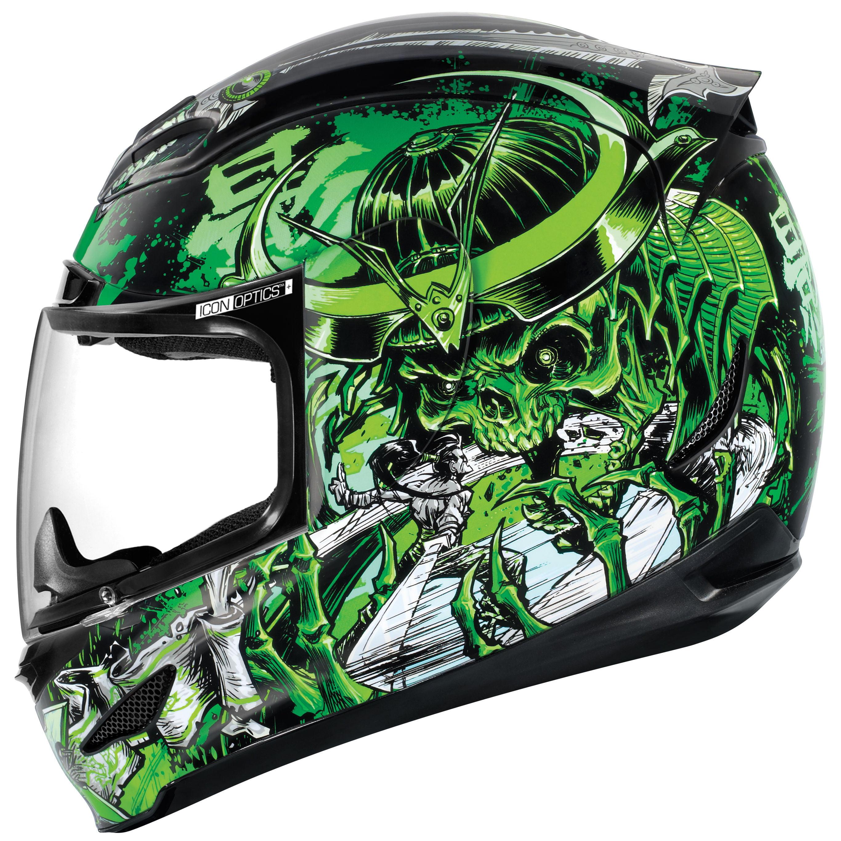 Icon Airmada Shadow Warrior Full Face Helmet  Green/Black