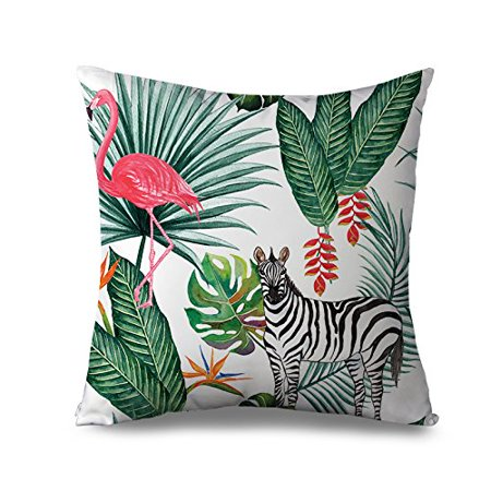 Fabricmcc Outdoor Pillow Cover 18 X Modern Flamingo And Zebra Throw Pillows For Couch Canvas