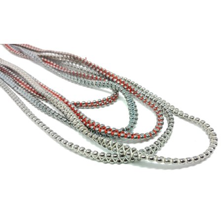 - Silver Grey & Red Glass Beaded Multi Strand Handmade Yarn Bib Necklace for Women - 18 inches