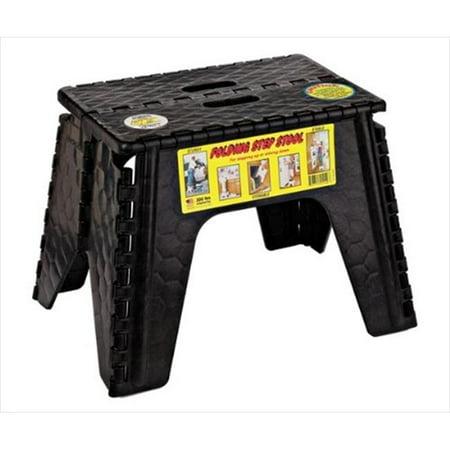 B&R PLASTICS 1036BK Ez Foldz Step Stool, 12 In. - Black