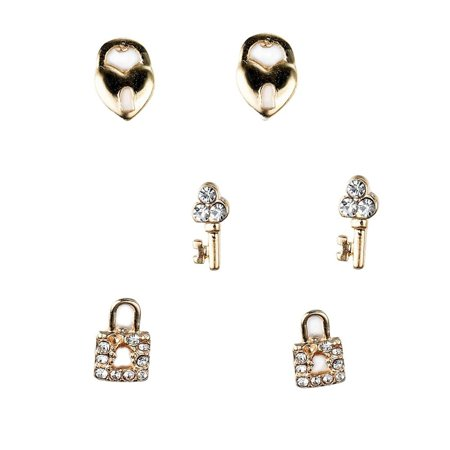 Gold Tone Heart Lock and Key Crystal Stud (3 Pair) Earrings Set, by JADA - 3 Pair Set Heart