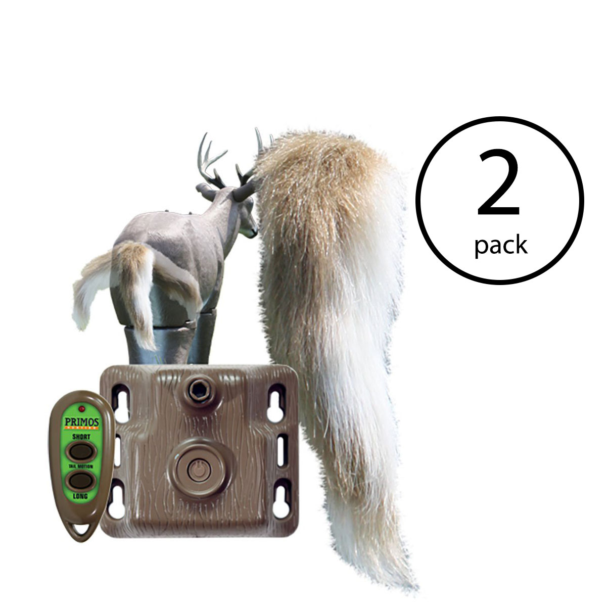 Primos Hunting Waggin' Whitetail Remote Control Motion Tail Deer Decoy (2 Pack)