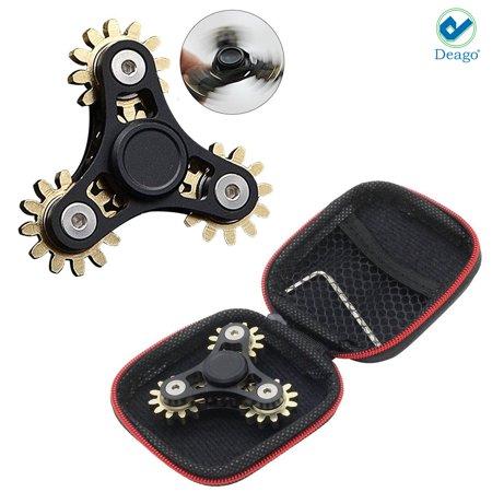 Black Hot Edc Hand Fidget Spinner Zinc Alloy Finger Gyroscope Focus Toy 4 Gears