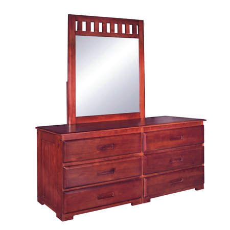 (American Furniture Classics Model 2850DM, Solid Pine Six Drawer Dresser and Mirror in Rich Merlot finish)