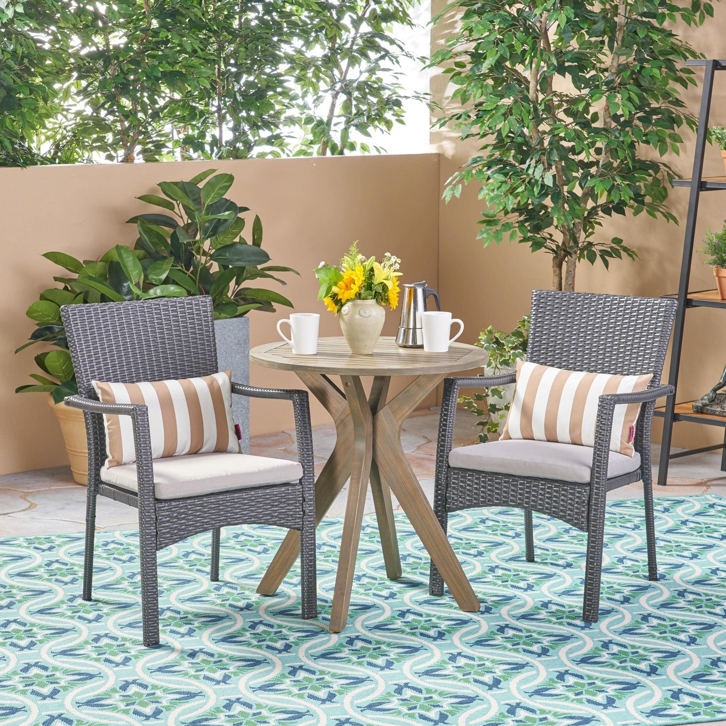 Christopher Knight Home Kent Outdoor 3 Piece Acacia Wood and Wicker Bistro Set by