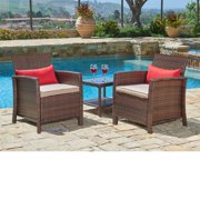 SUNCROWN Outdoor Furniture 3-Piece Patio Bistro Sets Wicker Chairs with Glass Top Table Set, Thick Durable Cushions with Washable Covers