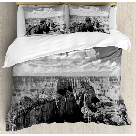 House Decor King Size Duvet Cover Set  Nostalgic Photo Of Ethnic Finding Grand Canyon Peaks In National Park With Cloud  Decorative 3 Piece Bedding Set With 2 Pillow Shams  Grey  By Ambesonne