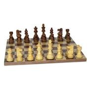 Shesham Lardy Chessmen on Walnut and Maple Inlaid Chess Board