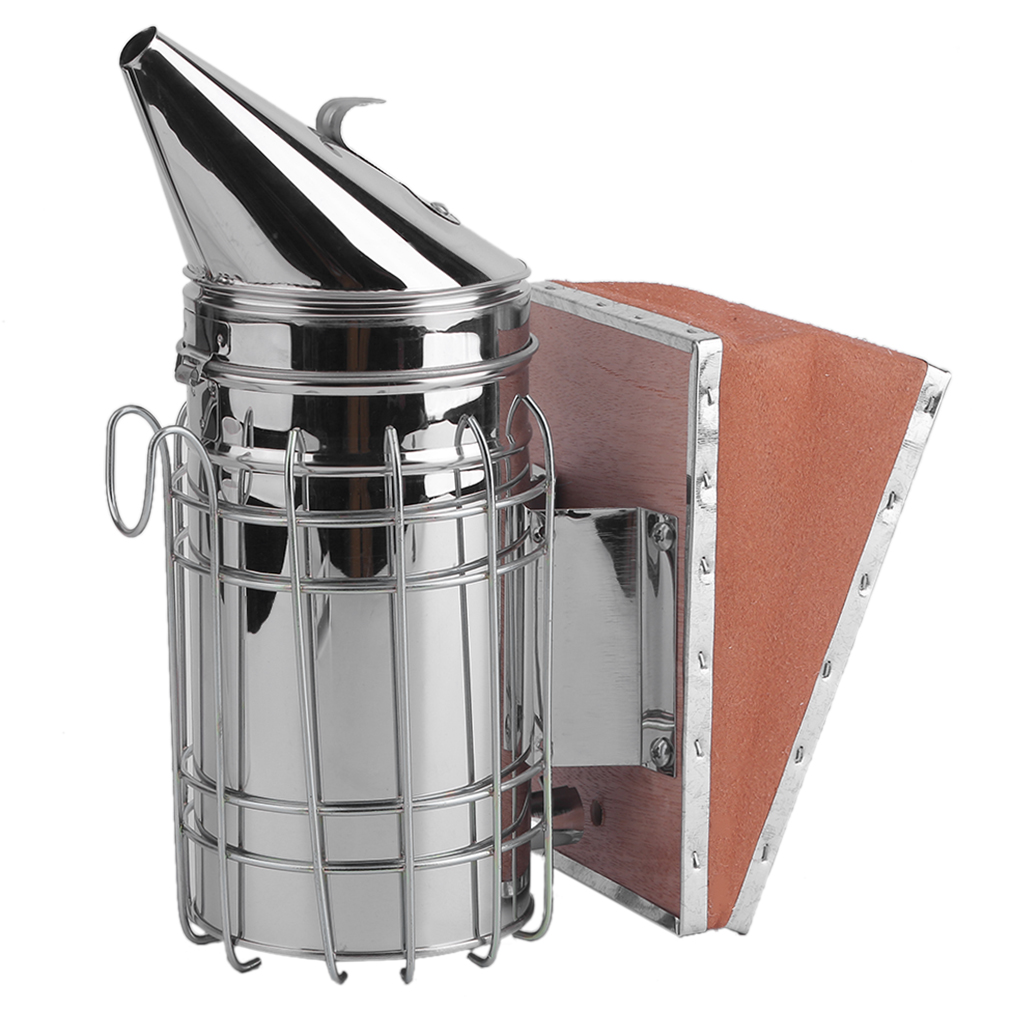 Practical Bee Hive Smoker Stainless Steel with Heat Shield Calming Beekeeping Equipment Built In Heat Shield