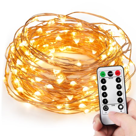 Kohree 120 Micro LEDs String Lights Novelty 40ft Long Ultra Thin String Copper Wire Lights Remote Control Timer (Micro Led Lights)