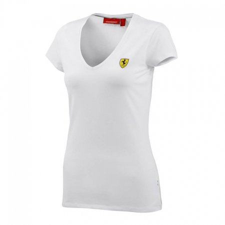 Ferrari Ladies White V-Neck Tee Shirt