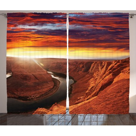 Lake House Decor Curtains 2 Panels Set, Fantastic Scenery Of The River Between Rock Cliffs With Mystical Sky Mod Art Image, Living Room Bedroom Accessories, By (Best Windows 7 Mods)