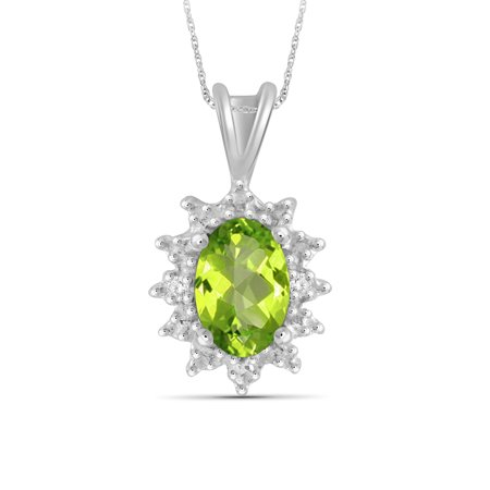 JewelersClub 0.48 Carat T.G.W. Peridot Gemstone and White Diamond Accent Pendant