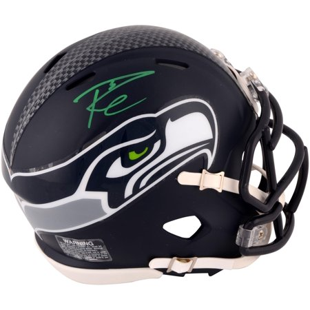 Russell Wilson Seattle Seahawks Autographed Riddell Speed Mini Helmet - Signed in Green Ink - Fanatics Authentic Certified