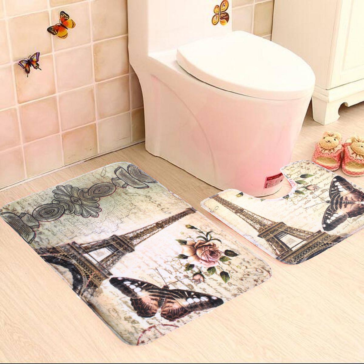 2Pcs//Set Paris Eiffel Tower Bathroom Toilet Pedestal Rug Bath Non-Slip Mat Pad