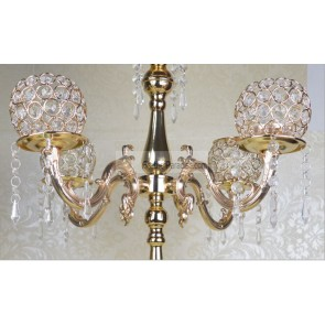 Gold 5 Arms Crystal Candelabra/ Floral Riser/Wedding Cent...