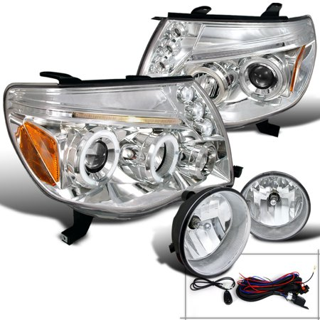 spec-d tuning 2005-2011 tacoma chrome projector led headlights + clear fog lights (left + right) 05 06 07 08 09 10 11