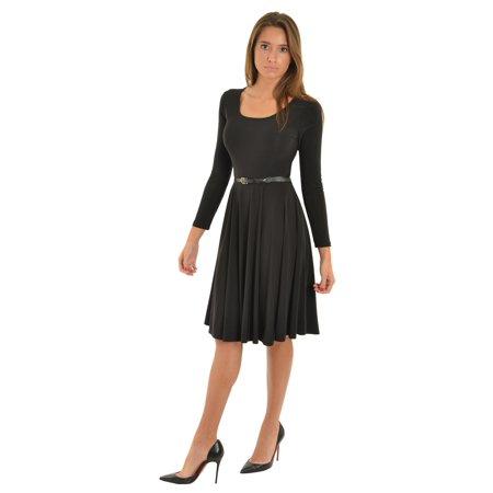 Avital Womens Little Black Dress Long Sleeve Fit And Flare Dress