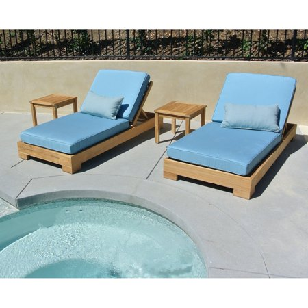 Willow Creek Designs Pacific Teak 4 Piece Outdoor Chaise Lounge with Sunbrella Cushion ()