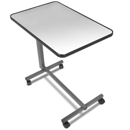 Gymax Overbed Rolling Table Over Bed Laptop Tray Tilting Top Gary