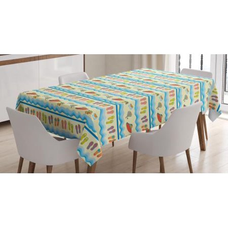Flip Flop Tablecloth, Absurd Illustration of Sandy Beach with Flowing Sea Waves Straw Hats and Purse, Rectangular Table Cover for Dining Room Kitchen, 60 X 90 Inches, Multicolor, by Ambesonne](Straw Table)