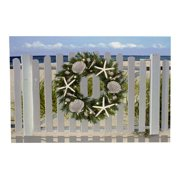 Canvas Picture of Beach Holiday Wreath Print LED Lights Up 23.5 Inch Wall Plaque