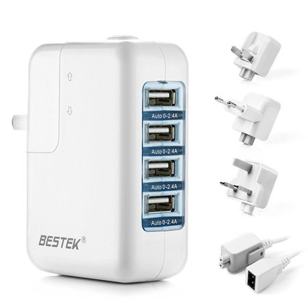 BESTEK 35W 4-in-1 Multi-port USB Wall Charger with US UK EU International Travel Adapter, 5.2A Multi-Port USB Charger for Smartphones & Tablets and More