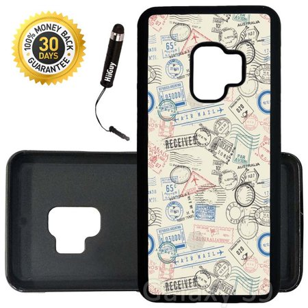 Custom Galaxy S9 Case (Postage Air Mail Pattern) Edge-to-Edge Rubber Black Cover Ultra Slim | Lightweight | Includes Stylus Pen by -
