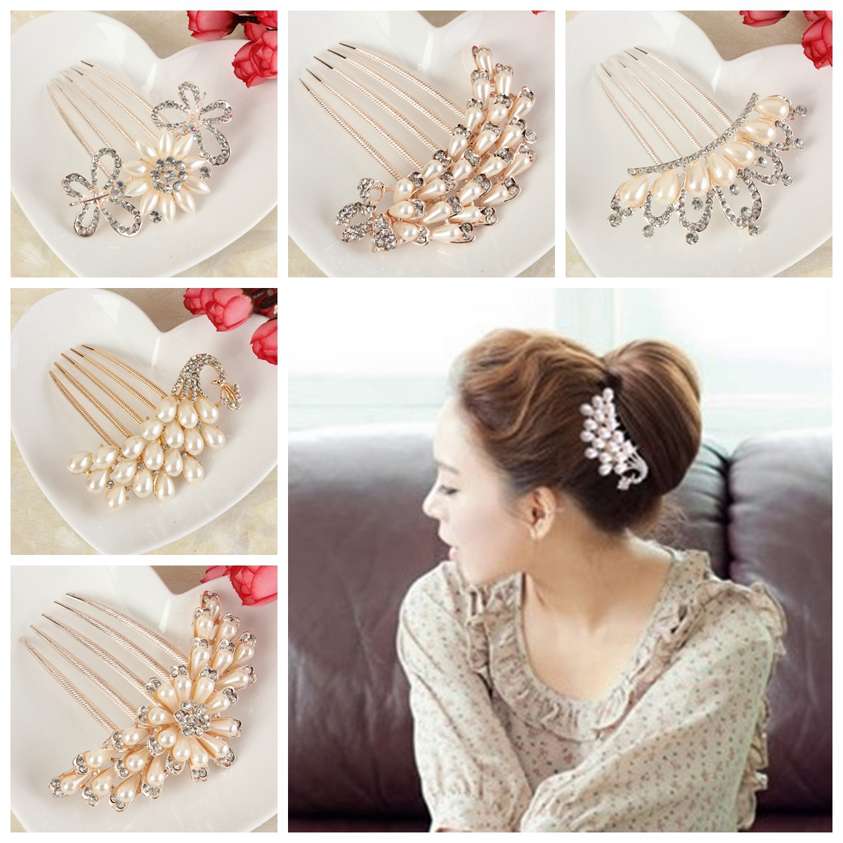 Wedding Hair Comb, Pearls Bridal Wedding Party Hair Comb Headdress Clip Pin Decor for Women