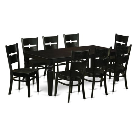 East West Furniture Logan 9 Piece Modern Mission Dining Table Set