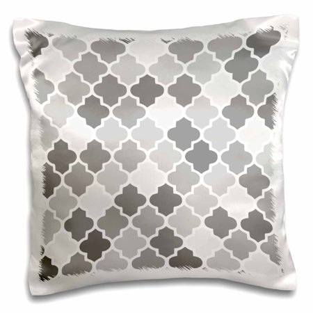 Shade Pillow - 3dRose Gray quatrefoil pattern in different shades of grey - trendy Moroccan style lattice tiles, Pillow Case, 16 by 16-inch