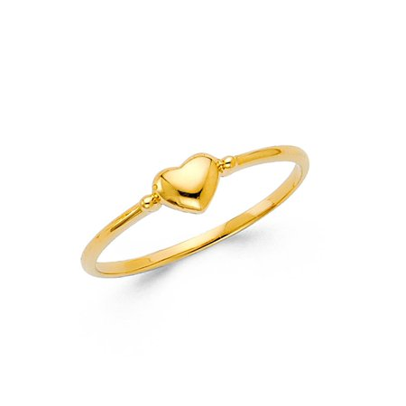 Womens 14K Solid Yellow Gold Small Heart Band Fancy Ring, Size 4
