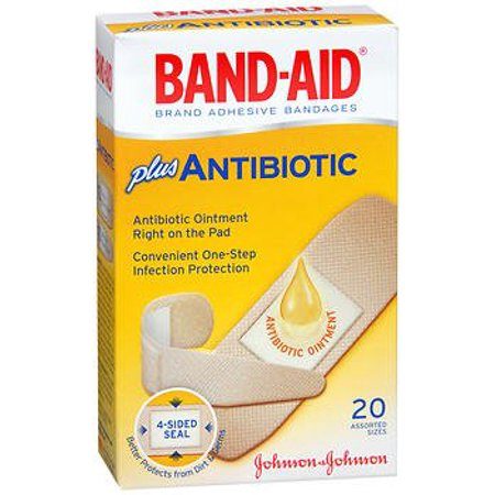 Band-Aid Brand Adhesive Bandages Plus Antibiotic, Assorted Sizes, 20 Count