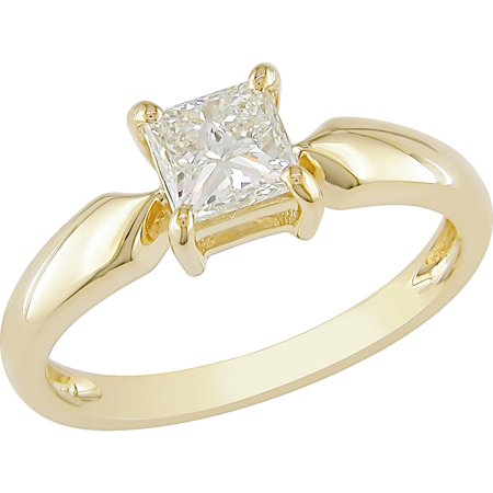Miabella 3/4 Carat T.W. Princess Cut Diamond Solitaire Ring in 14kt Yellow Gold